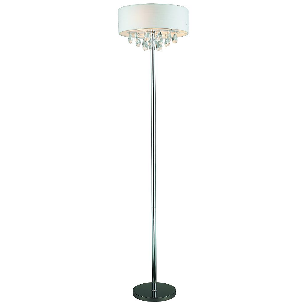 Century Rossini Chrome Floor Lamp - With White Shade And Crystals