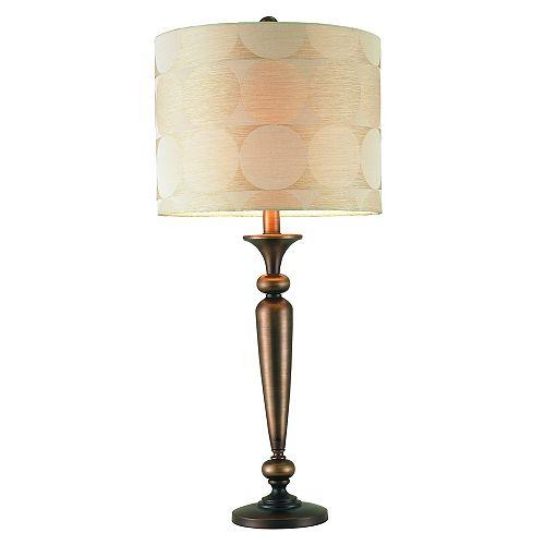 MANHATTAN, LAMPE DE TABLE EN MÉTAL, ABAT-JOUR DE TISSU , CONTRE COLLÉ SUR DOUBLURE RIGIDE