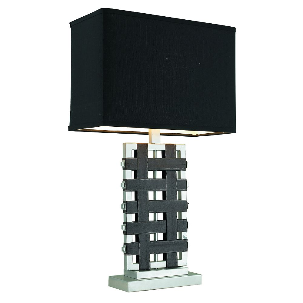 GEN-Lite Silver And Leather Threaded Table Lamp With Black Rectangular Shade