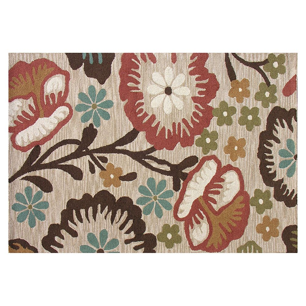 Home Decor Tuscany Floral Loop Beige Tan 8 ft. x 10 ft. Rectangular Area Rug