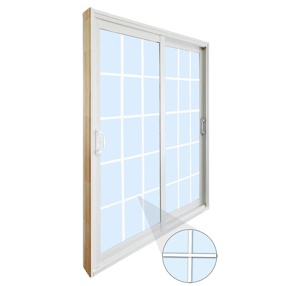 STANLEY Doors 59.75 inch x 79.75 inch Clear LowE Argon Prefinished White Double Sliding Vinyl Patio Door - ENERGY STAR®