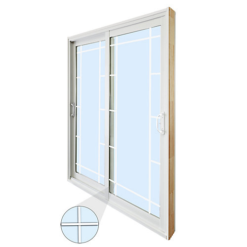 59.75 inch x 79.75 inch Clear LowE Argon Prefinished White Double Sliding Vinyl Patio Door - ENERGY STAR®