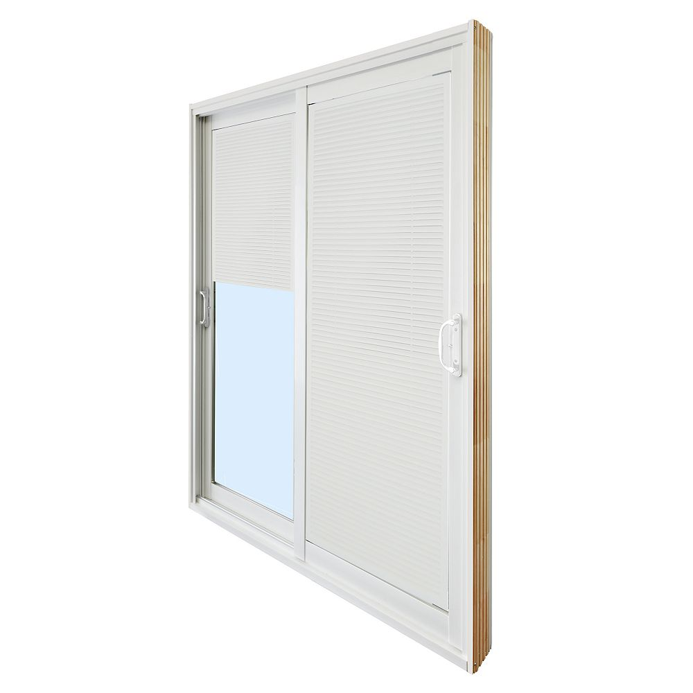 STANLEY Doors 71.75 inch x 79.75 inch Clear LowE Prefinished White Double Sliding Vinyl Patio Door with 7-1/4 inch Jamb and Internal Mini Blinds - ENERGY STAR®