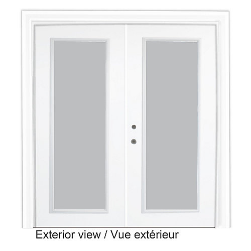 61 inch x 82.375 inch Clear LowE Argon Prefinished White Right-Hand Steel Garden Door - ENERGY STAR®