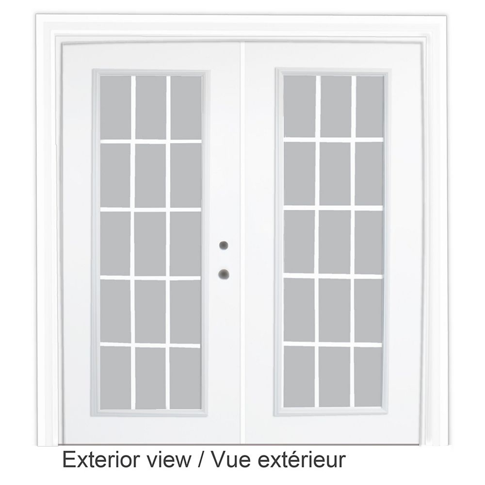 STANLEY Doors 71 inch x 82.375 inch Clear LowE Argon Prefinished White Left-Hand Steel Garden Door - ENERGY STAR®