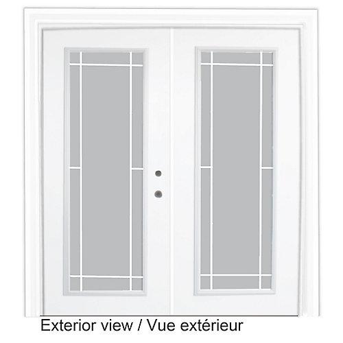 Porte-fenêtre en acier - Style Prairie - (6 pi sur 82.375 po)  préfinie blanc, LowE gaz Argon à faible émissivité, poignée main gauche - ENERGY STAR®