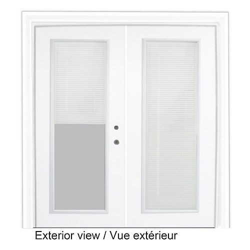 61 inch x 82.375 inch Clear LowE Prefinished White Left-Hand Steel Garden Door with Internal Mini Blinds