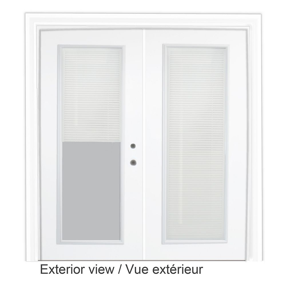 STANLEY Doors 61 inch x 82.375 inch Clear LowE Prefinished White Left-Hand Steel Garden Door with Internal Mini Blinds