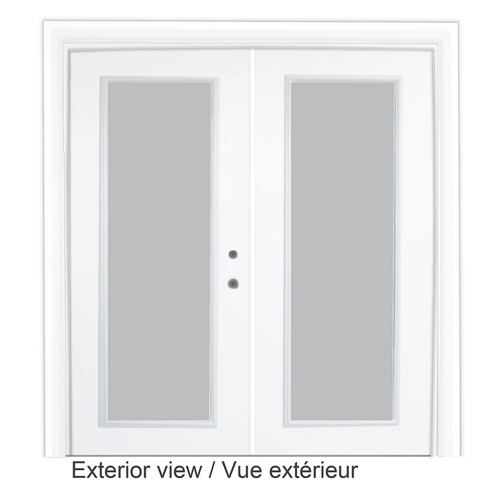 STANLEY Doors 61 inch x 82.375 inch Clear LowE Argon Prefinished White Left-Hand Steel Garden Door - ENERGY STAR®