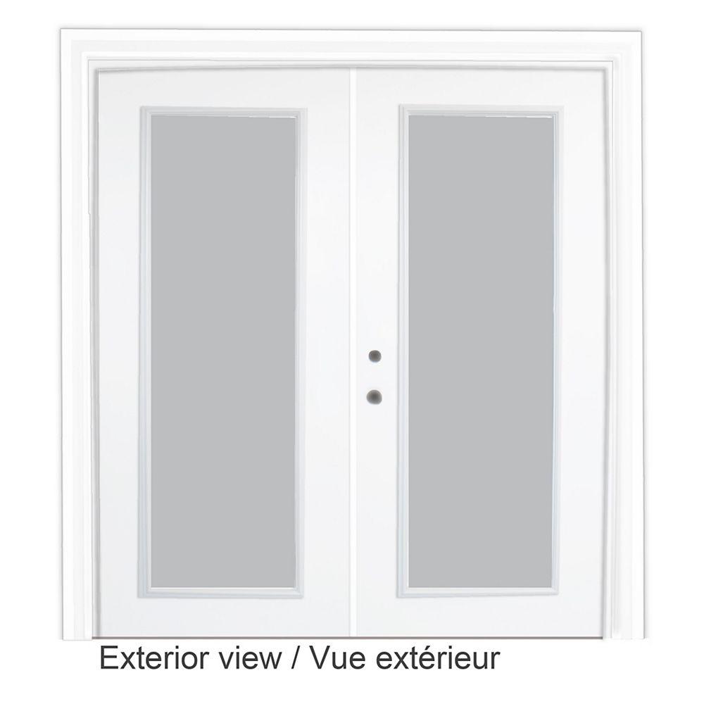 STANLEY Doors 61 inch x 82.375 inch Clear LowE Argon Prefinished White Right-Hand Steel Garden Door - ENERGY STAR®