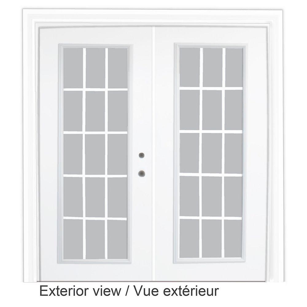 STANLEY Doors 61 inch x 82.375 inch Clear LowE Argon Prefinished White Left-Hand Steel Garden Door with 7-1/4 inch Jamb and 15-Lite Internal Grill - ENERGY STAR®