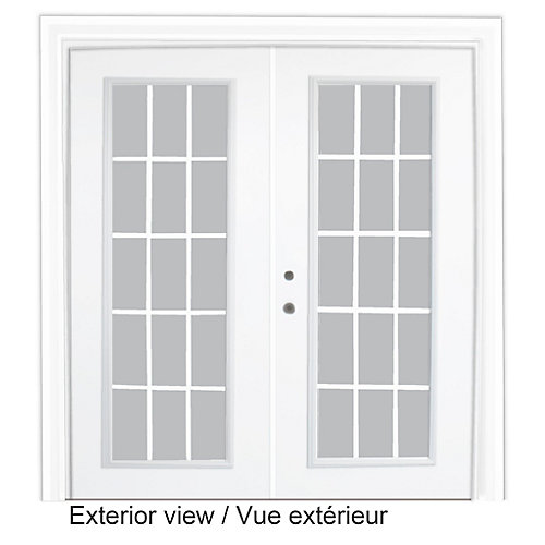61 inch x 82.375 inch Clear LowE Argon Prefinished White Right-Hand Steel Garden Door with 7-1/4 inch Jamb and 15-Lite Internal Grill - ENERGY STAR®