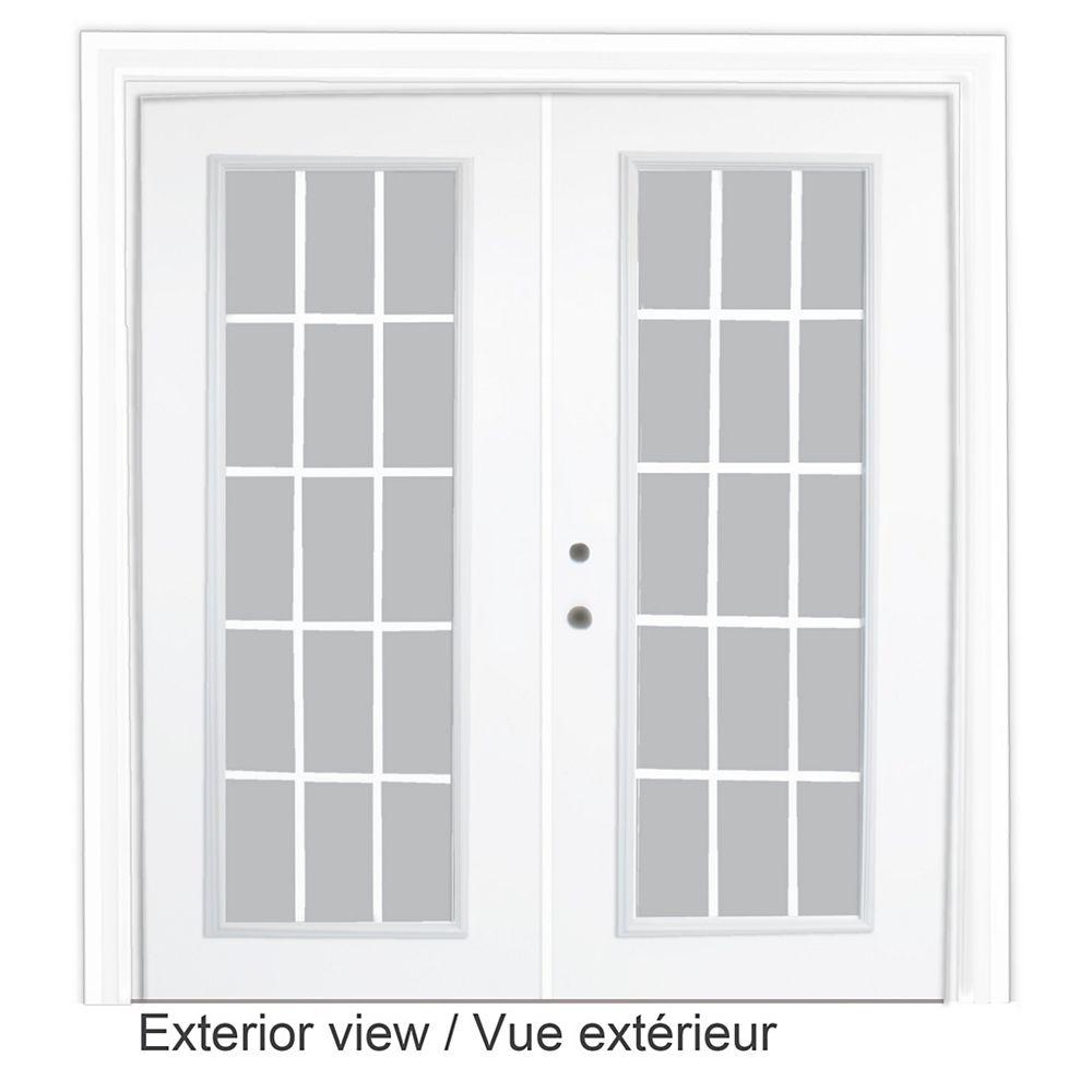 STANLEY Doors Porte-fenêtre en acier - 15 lite Carrelage blanc, plat, intégré - (5 pi sur 82.375 po)  préfinie blanc, LowE gaz Argon à faible émissivité, poignée main droite - ENERGY STAR®