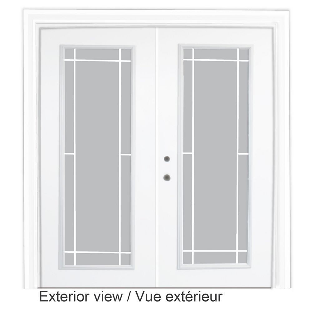 STANLEY Doors 61 inch x 82.375 inch Clear LowE Argon Prefinished White Right-Hand Steel Garden Door with 7-1/4 inch Jamb and Prairie Style Internal Grill - ENERGY STAR®