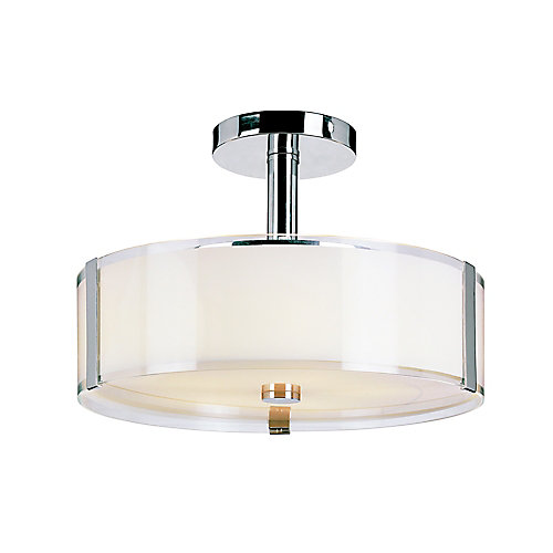 5-Light 16-inch Chrome Ceiling Light Fixture with Opal Glass Shade