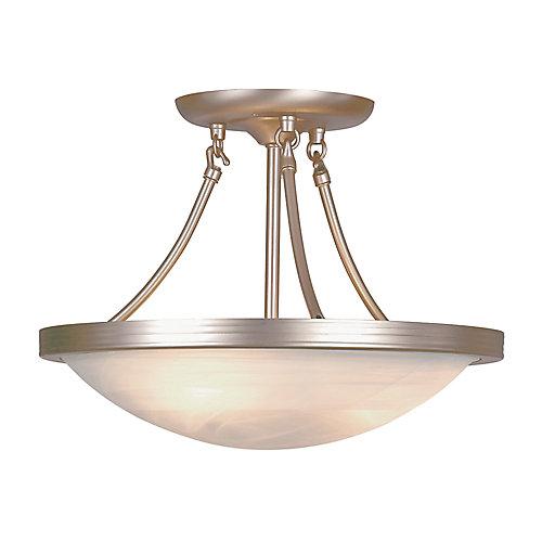 Luminaire semi-affleurant, verre marbré, nickel, 38,10 cm (15 po)