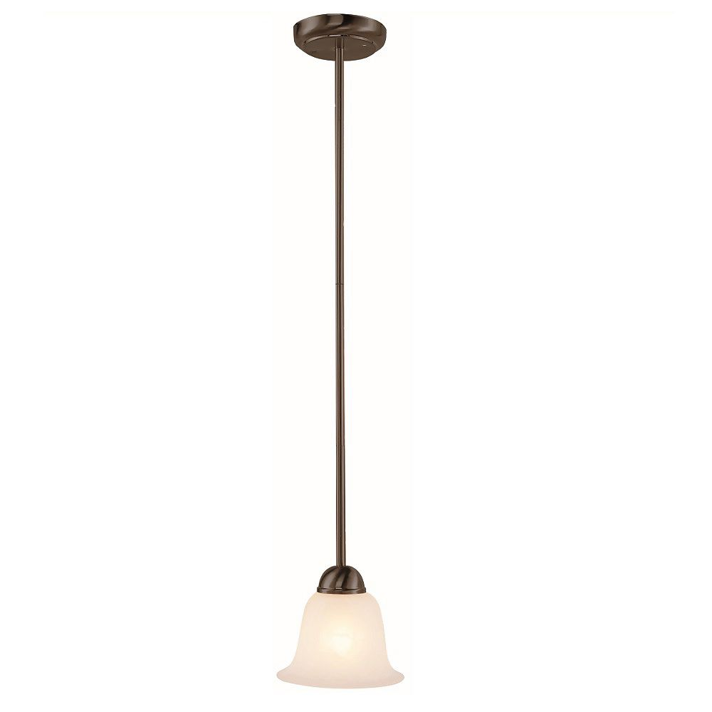 Bel Air Lighting Aspen 1-Light Rubbed Oil Bronze Pendant with Frosted Glass Shade