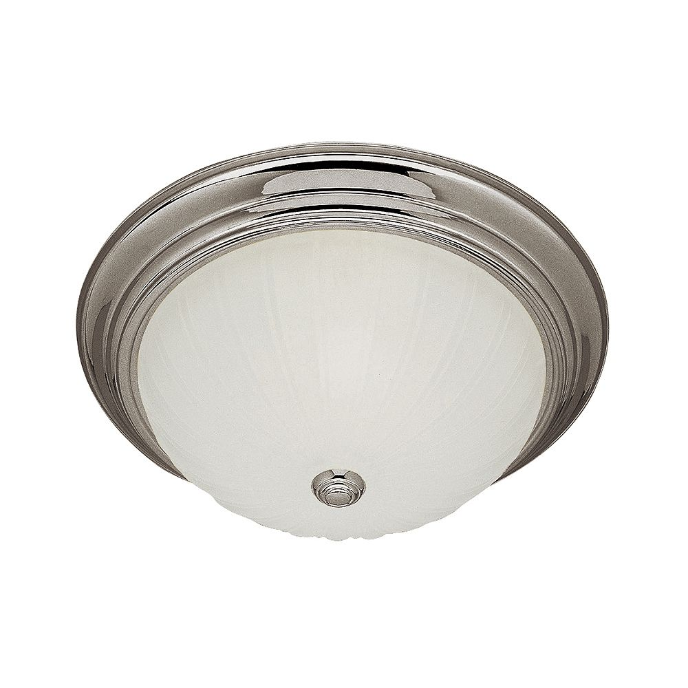 Bel Air Lighting Breakwater 13 inch 2-Light Brushed Nickel Flush Mount with Frosted Glass Melon Shade