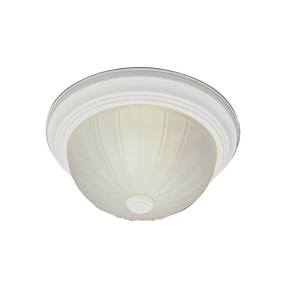 Bel Air Lighting Breakwater 13 inch 2-Light Antique White Flush Mount with Frosted Glass Melon Shade