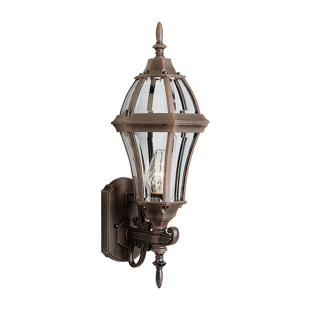Hampton Bay Rust with Curved Glass Decorative Wall Bracket Light