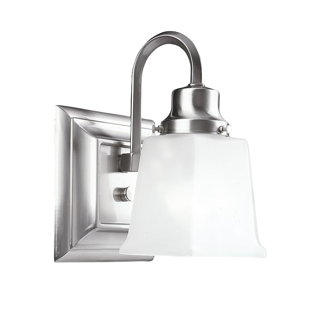 World Imports 1 Light Bath Steel Fixture In Pewter Finish W/ Frosted Glass