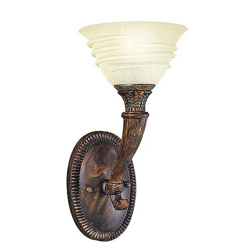 Applique murale à 1 lampe, bronze oxydé