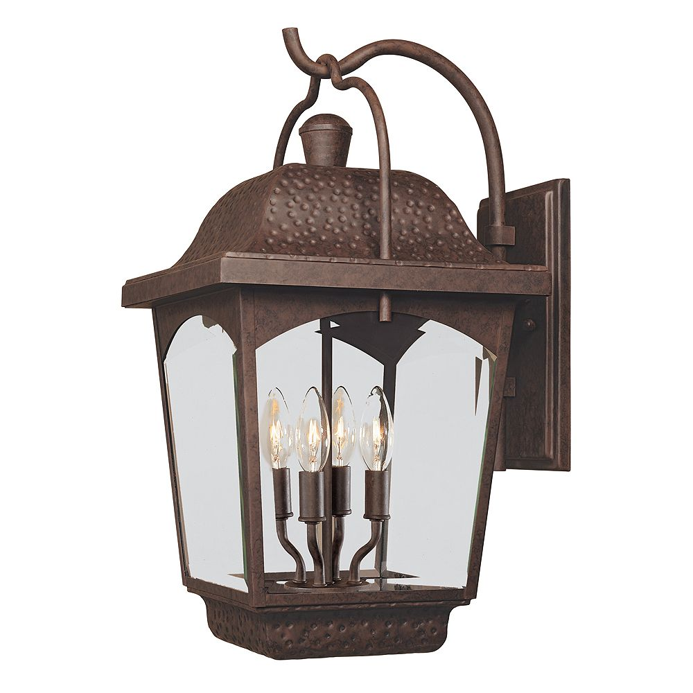 World Imports Ayrs Collection 12 in. 4-Light Outdoor Wall Lantern in Bronze