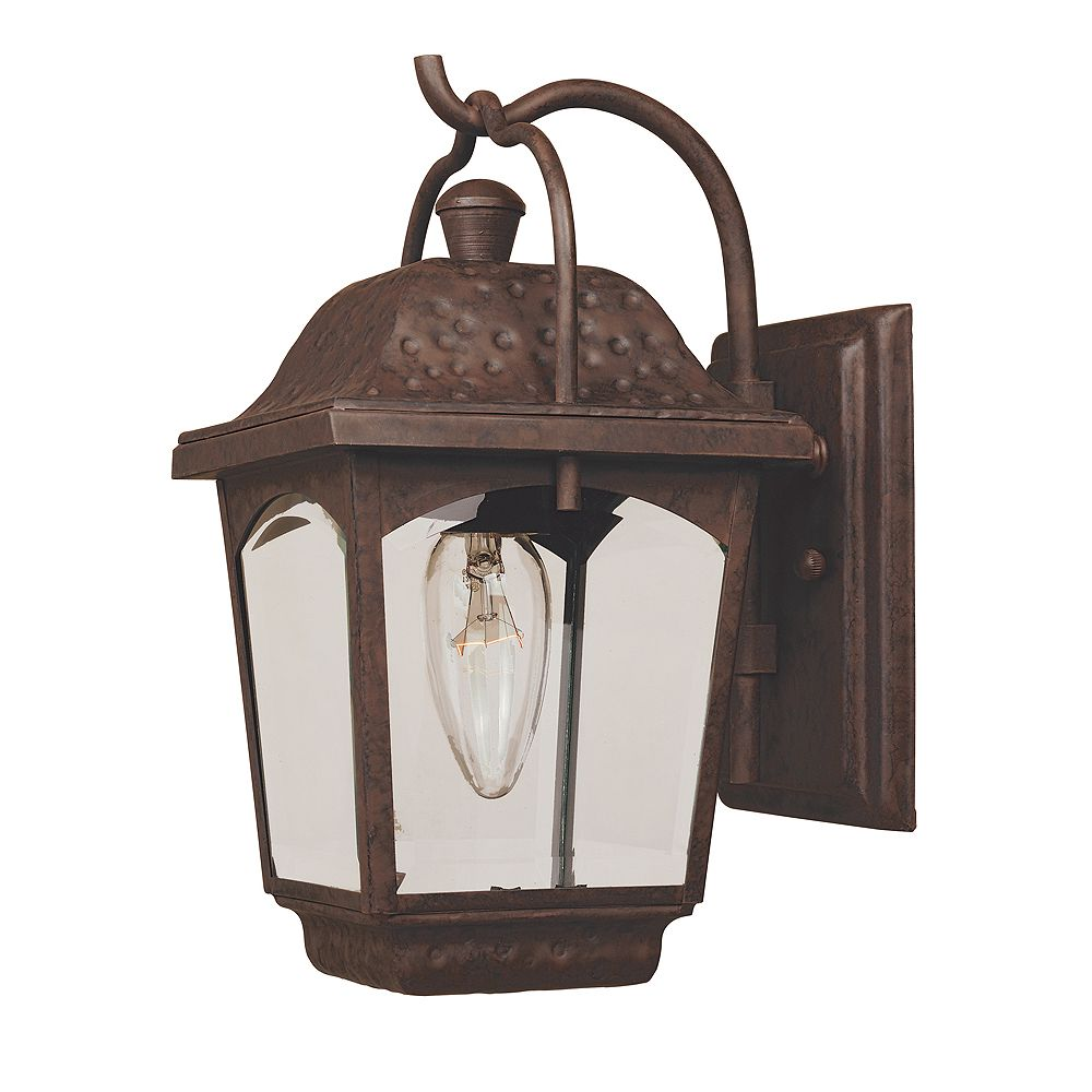 World Imports Ayrs Collection 6 in. 1-Light Outdoor Wall Lantern in Bronze