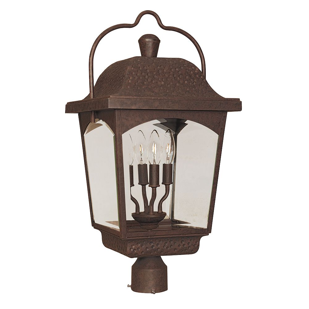 World Imports Ayrs Outdoor Collection Bronze 4-Light 12 In. Post Lantern