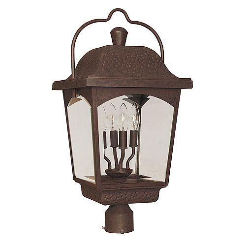 Lanterne sur poteau à 4 lampes au fini bronze de la Collection Ayrs Outdoor, 12 po