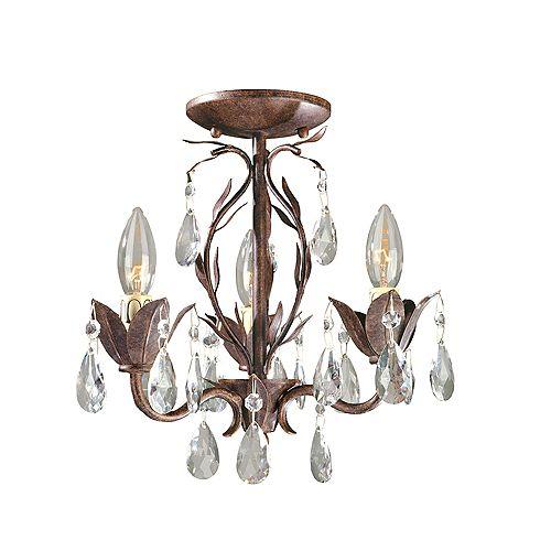 Lustre semi-affleurant transformable à 3 lampes au fini bronze vieilli de la Collection Bijoux