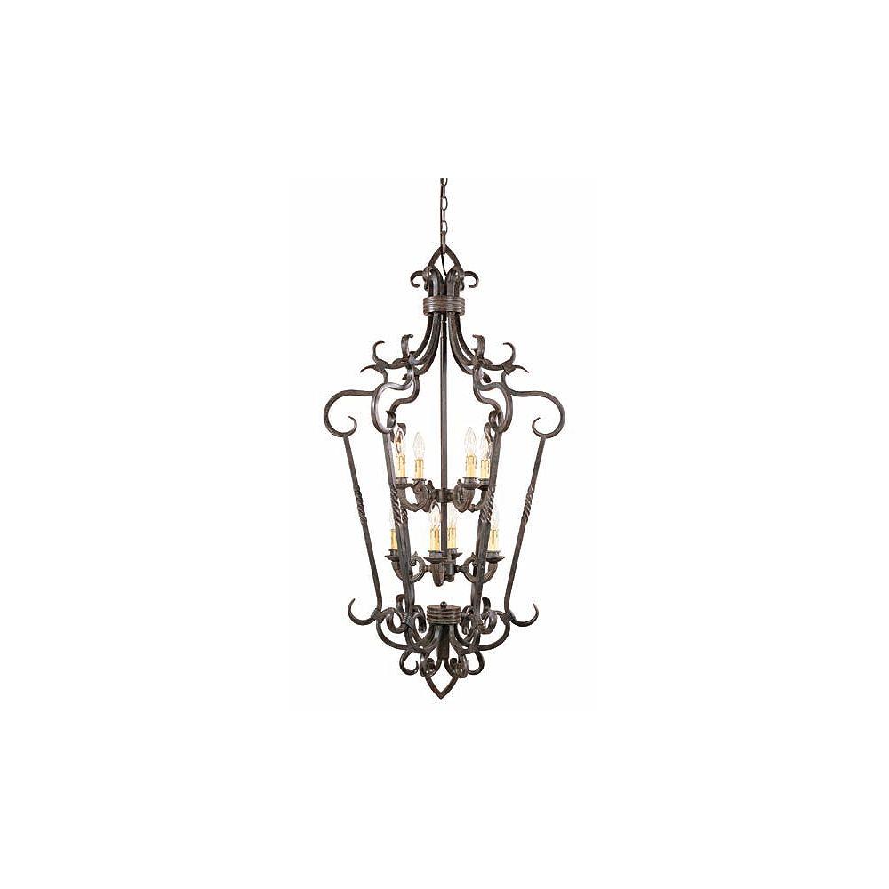 World Imports Bristol Collection 8-Light Medium Foyer Caged Pendant in Antique Oak