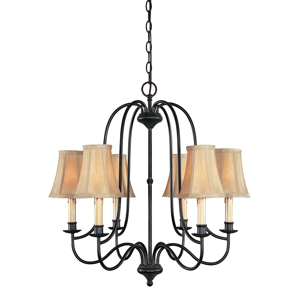World Imports Brondy Collection 6-Light Chandelier in Aged Ebony
