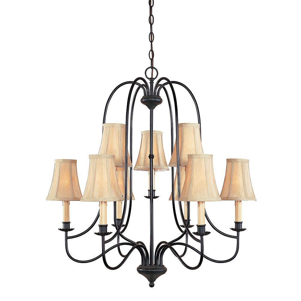 World Imports Brondy Collection 9-Light Chandelier in Aged Ebony