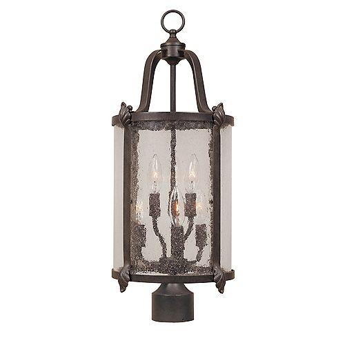 Lanterne sur poteau à 6 lampes au fini bronze de la Collection Cairns, 11 po