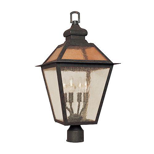 Lanterne sur poteau à 4 lampes au fini flamand de la Collection Cairns, 12 po