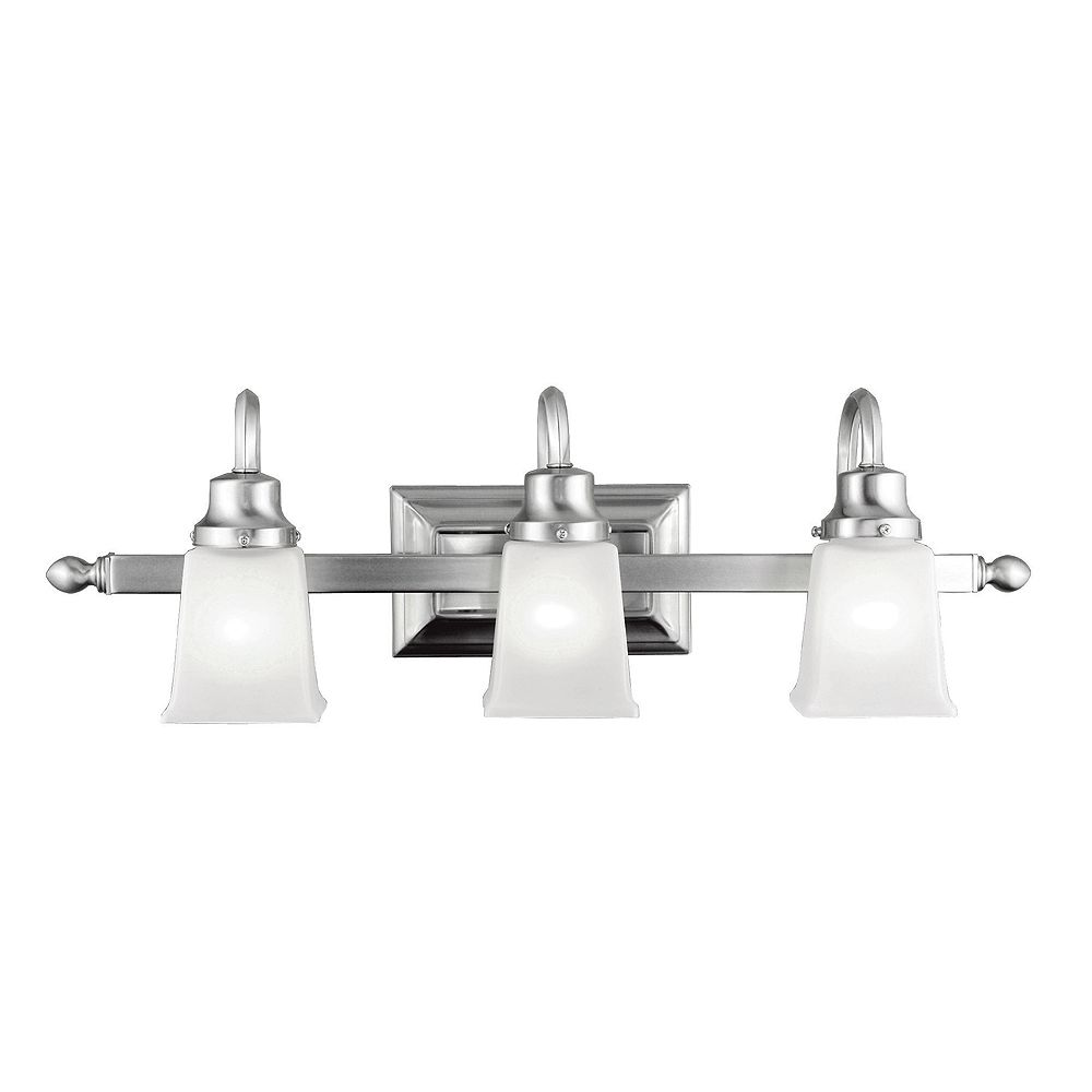 World Imports Iron 3 Lights Bath Bar in Pewter Finish with Frosted Glass