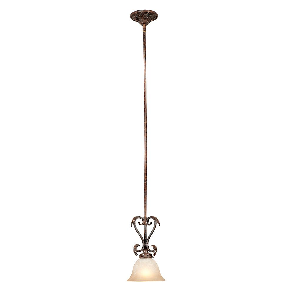 World Imports Medici Collection 1-Light Mini Pendant  in Oxide Bronze with Tea Stained Glass