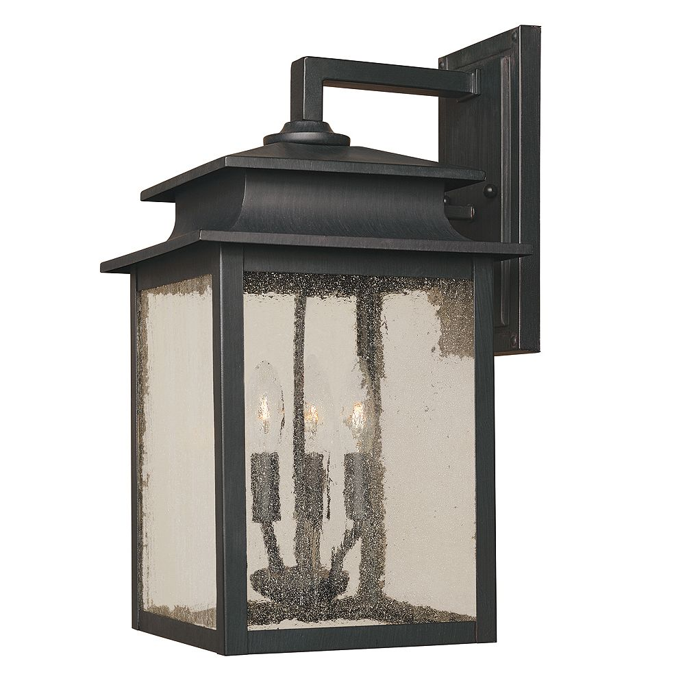 World Imports Sutton Collection Rust 3-Light 9 in. Outdoor Wall Sconce