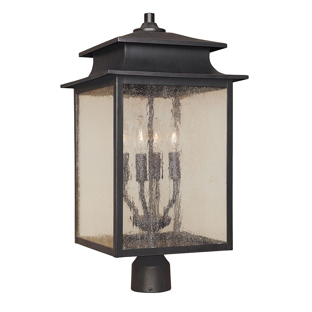 World Imports Sutton Collection Rust 4-Light 12 In. Post Lantern