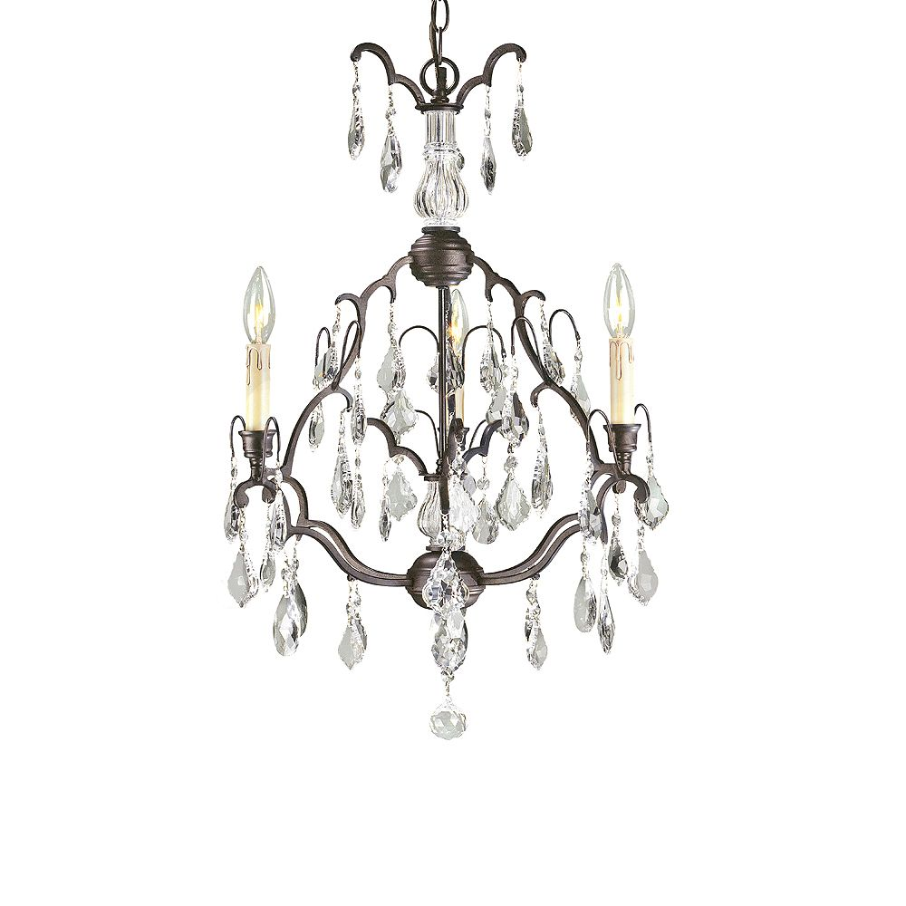 World Imports Timeless Elegance Collection Bronze 3-Light small Chandelier