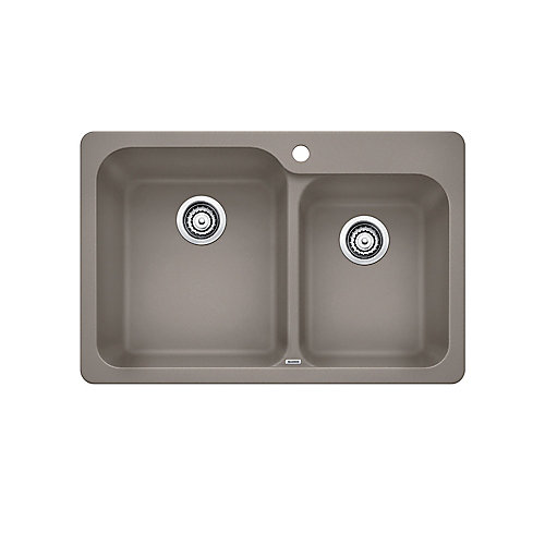 VISION 1.75, Offset Double Bowl Drop-in Kitchen Sink, SILGRANIT Truffle