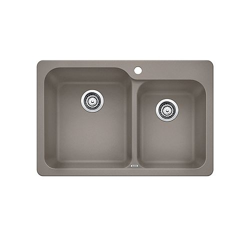 Blanco VISION 1.75, Offset Double Bowl Drop-in Kitchen Sink, SILGRANIT Truffle