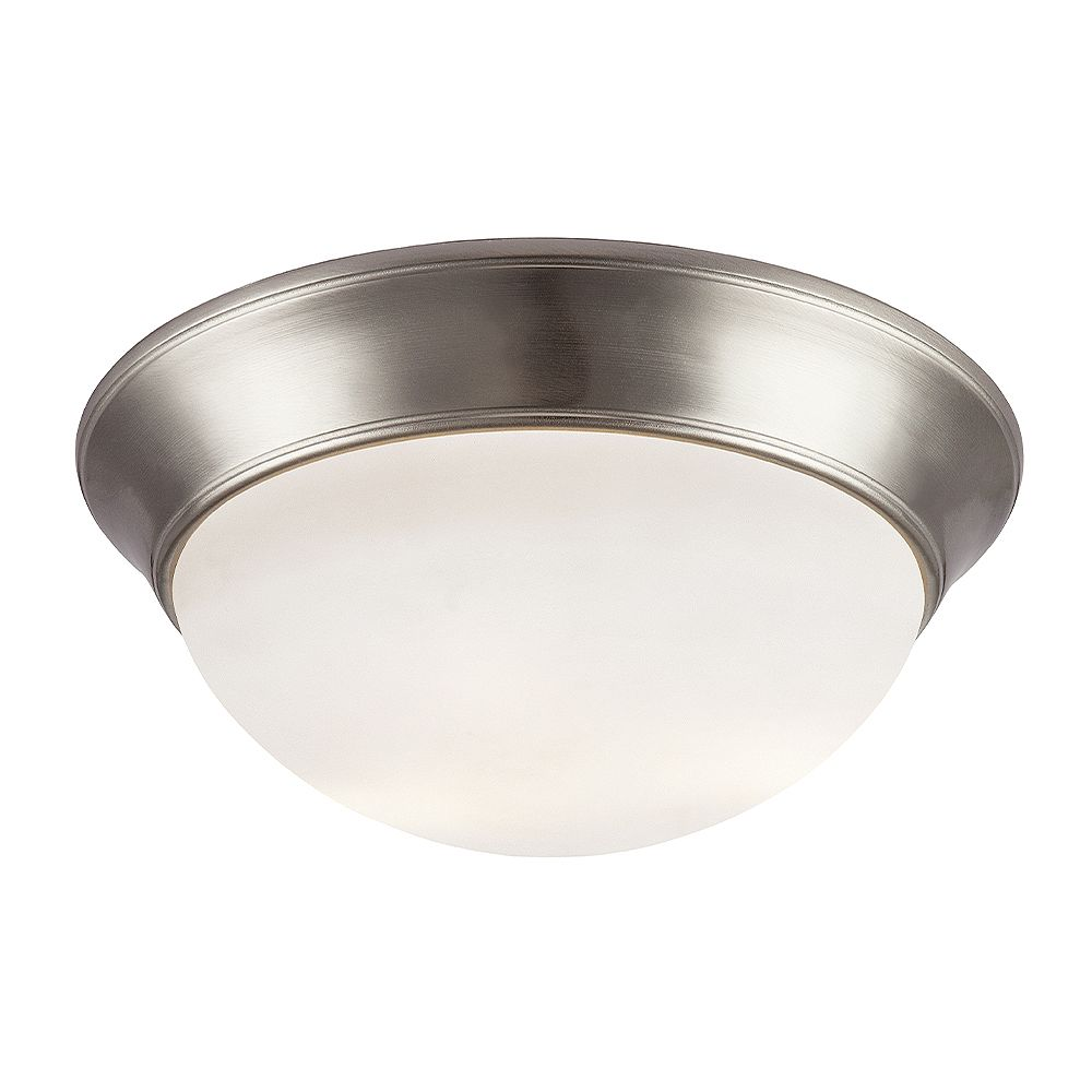 Bel Air Lighting Bolton 16 inch 3-Light Brushed Nickel Flush Mount with Frosted Glass Shade