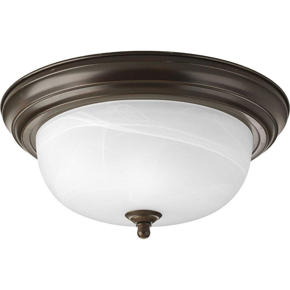 Progress Lighting 75W 2-Light Antique Bronze Flushmount with Alabaster Glass
