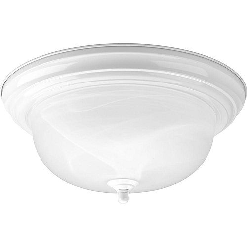 75W 2-Light White Flushmount with Alabaster Glass