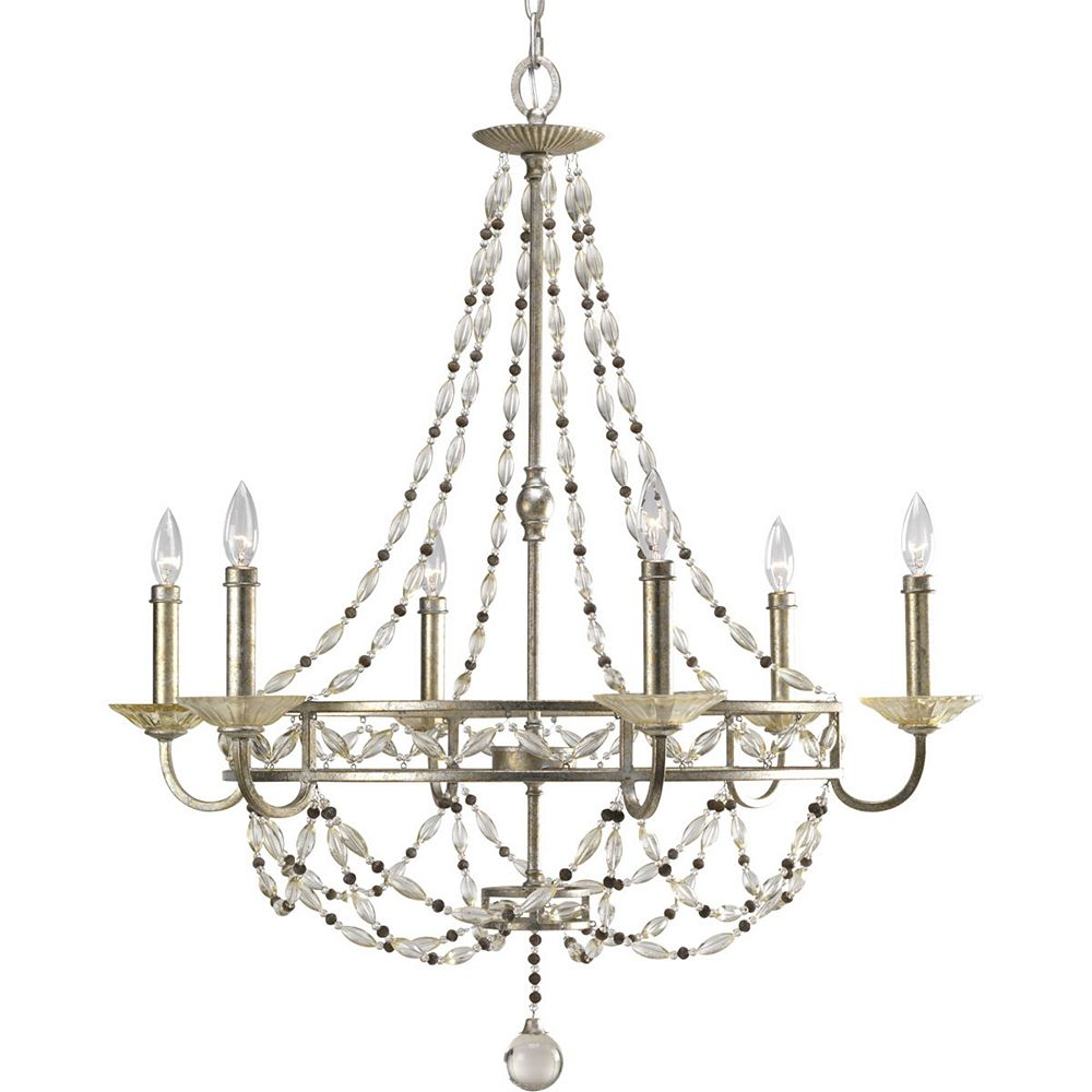 Progress Lighting Chanelle Collection Antique Silver 6-light Chandelier