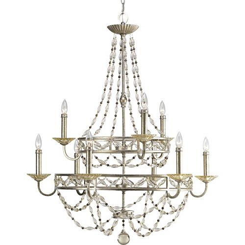 Progress Lighting Chanelle Collection Antique Silver 9-light Chandelier