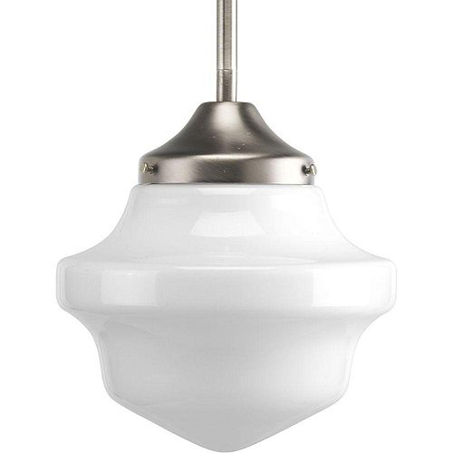 Schoolhouse Collection 1-Light Brushed Nickel Pendant Light Fixture