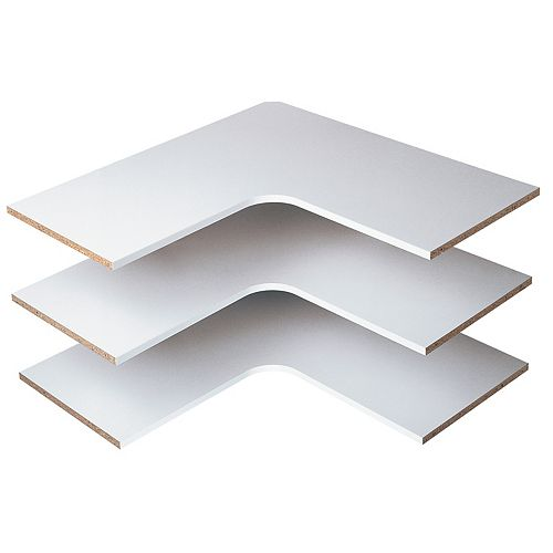 Martha Stewart Living 30-inch Classic White Corner Shelf (3-Pack)
